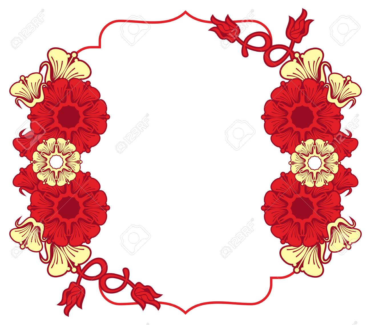 Beautiful Frame With Abstract Flowers. Design Element For ...