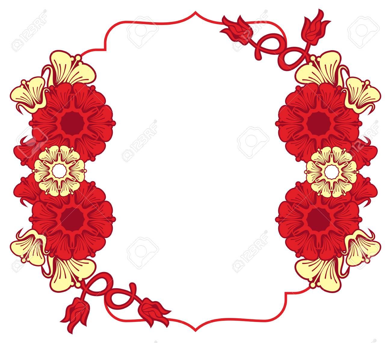 Hermoso Marco Con Flores Abstractas Elemento De Diseño Para Publicidad Flyer Web Bodas Invitaciones Y Tarjetas De Felicitación Imágenes