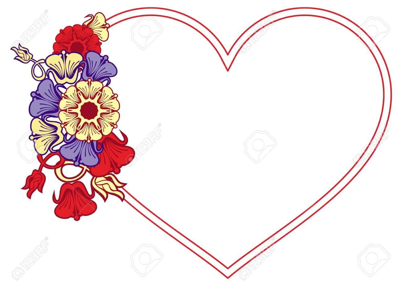 Herzformiger Rahmen Mit Dekorativen Blumen Gestaltungselement Fur