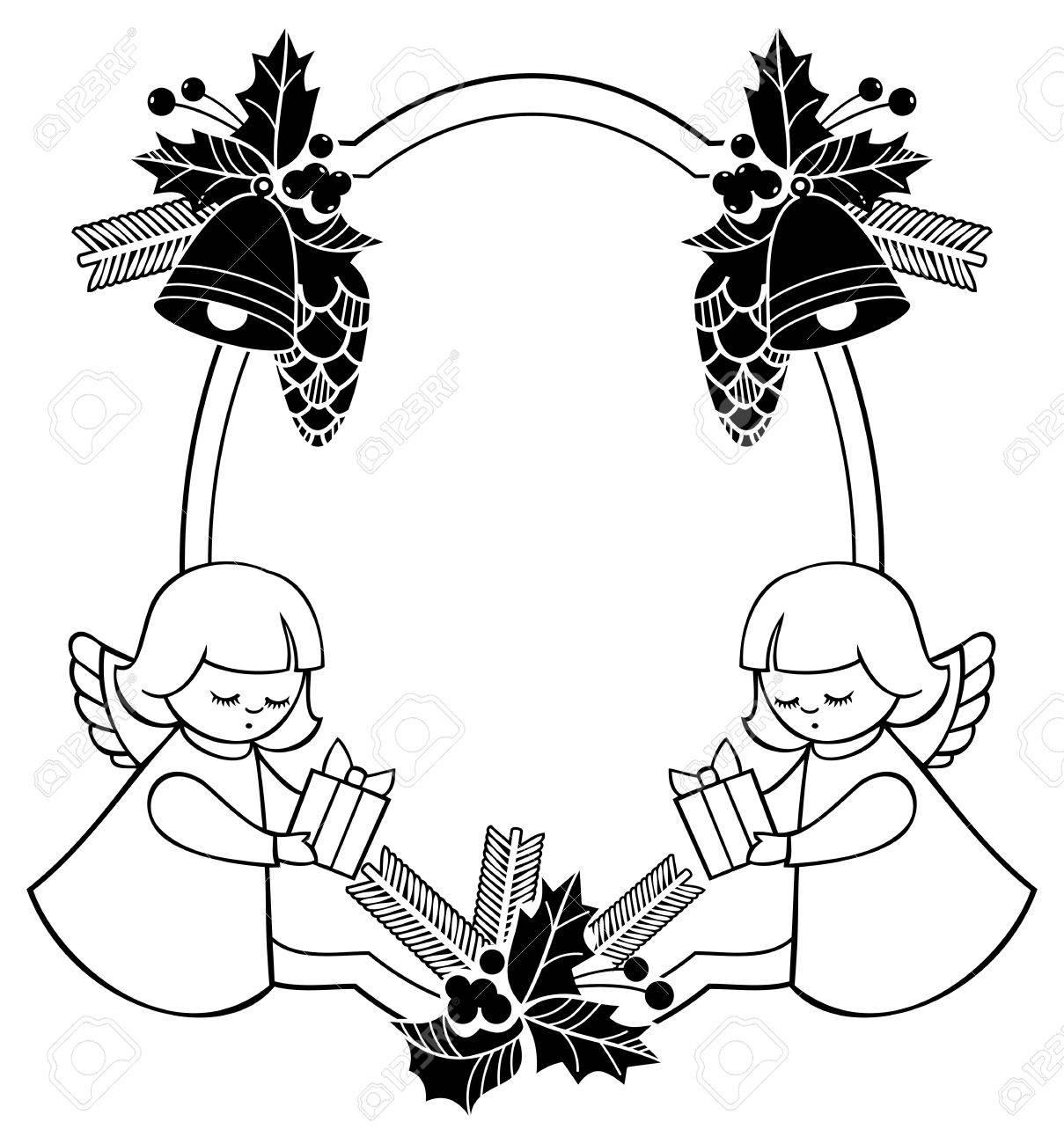 Schwarze Und Weiße Weihnachten Rahmen Mit Niedlichen Engel. Kopieren ...