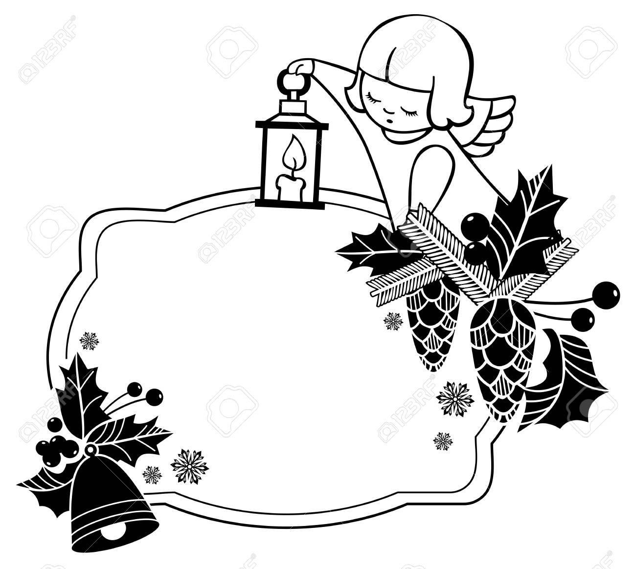 Cadre De Noel Noir Et Blanc Avec Des Anges Mignons Copiez L Espace Fond De Vacances De Noel Clipart Vectoriel Clip Art Libres De Droits Vecteurs Et Illustration Image 67405712