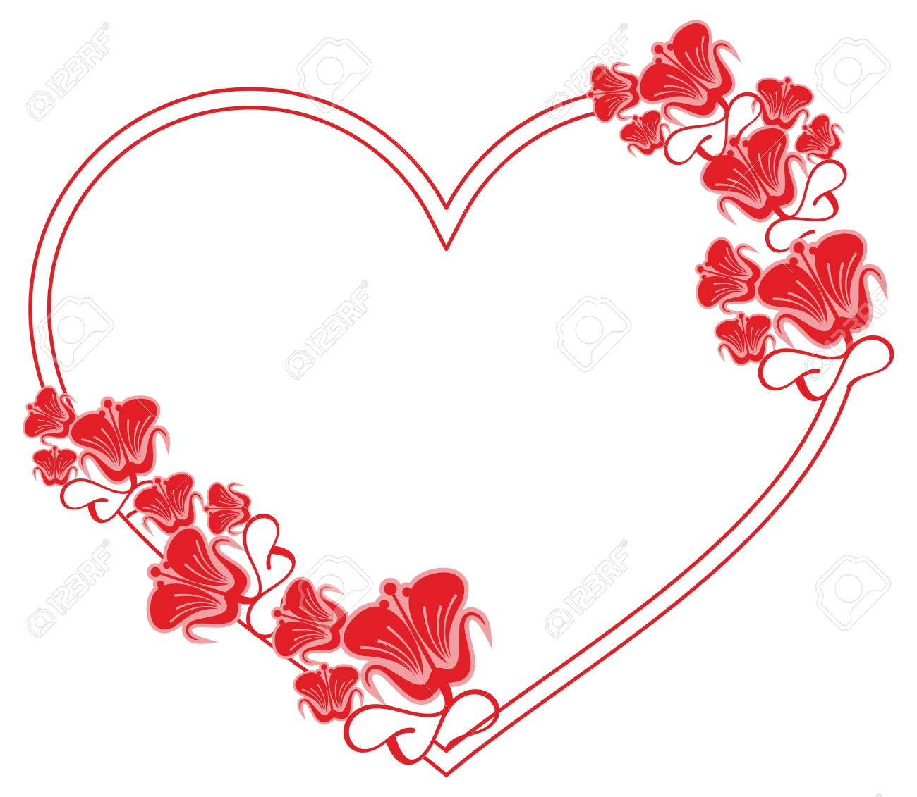 Heart-shaped Frame With Decorative Flowers. Design Element For ...