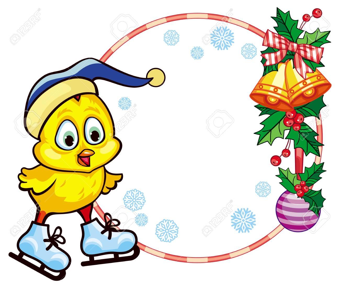 クリスマスのラウンド面白い帽子アイス スケートかわいい鶏入りフレーム