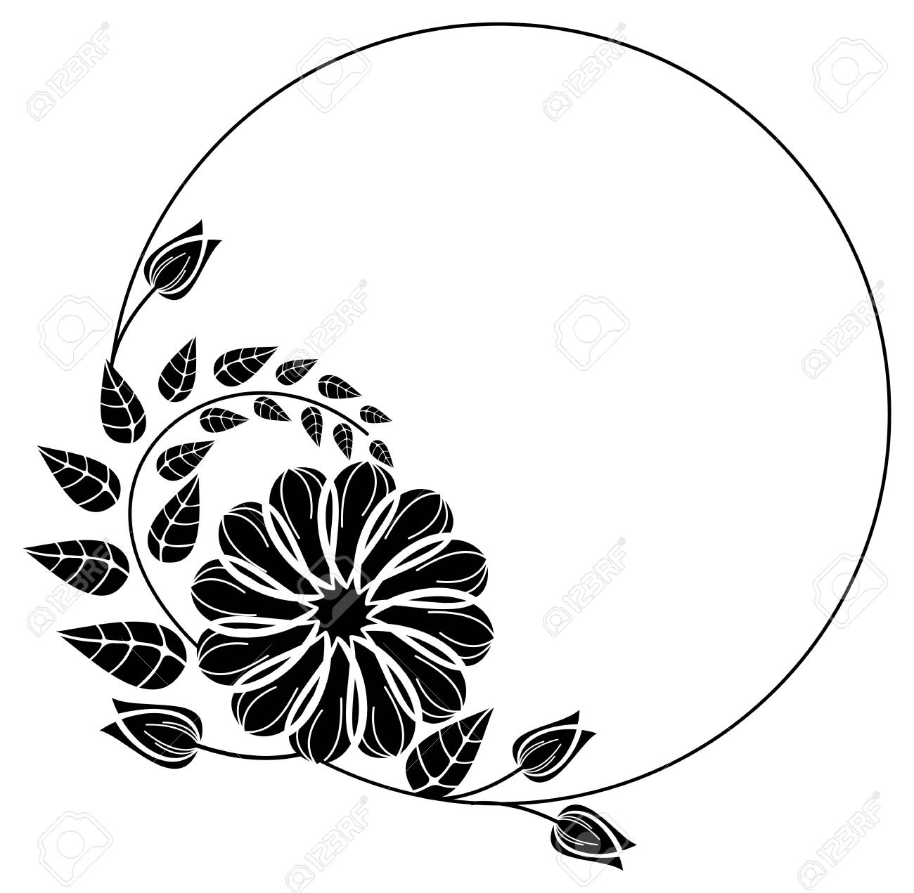 Round Black And White Frame Outline Decorative Flowers Copy