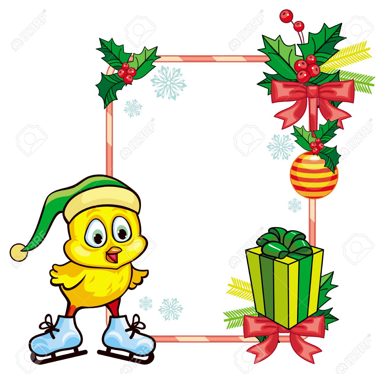cute chicken in funny hat ice skating christmas holiday frame rh 123rf com