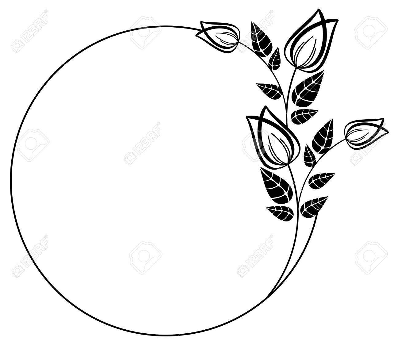round black and white frame outline decorative flowers copy rh 123rf com Decorative Spring Clip Art Decorative Borders Clip Art