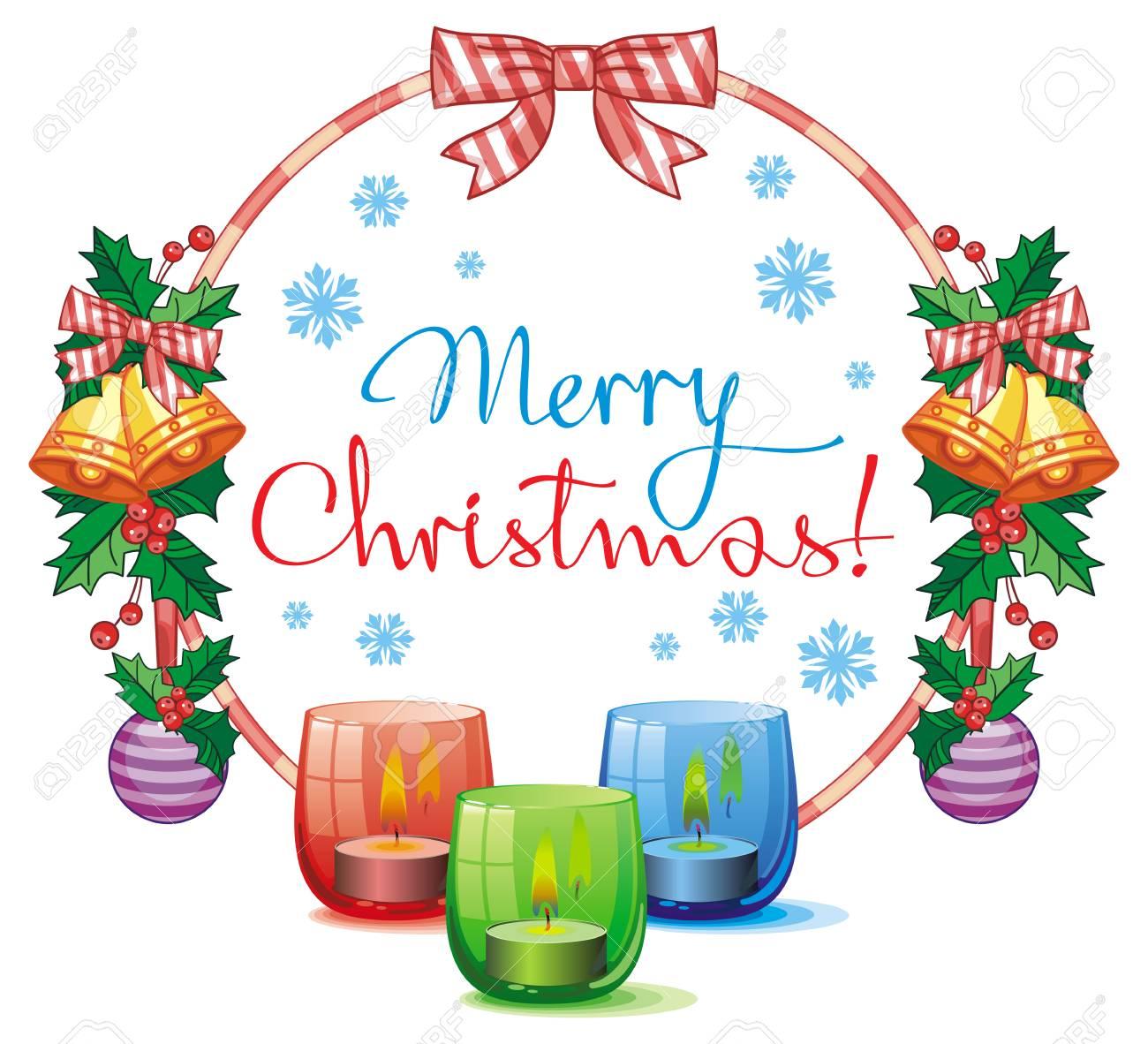 Joyeux Noel Clipart.Guirlande De Noël Bougie Allumée Et Texte De Voeux De Vacances Joyeux Noël Clipart Vectoriel