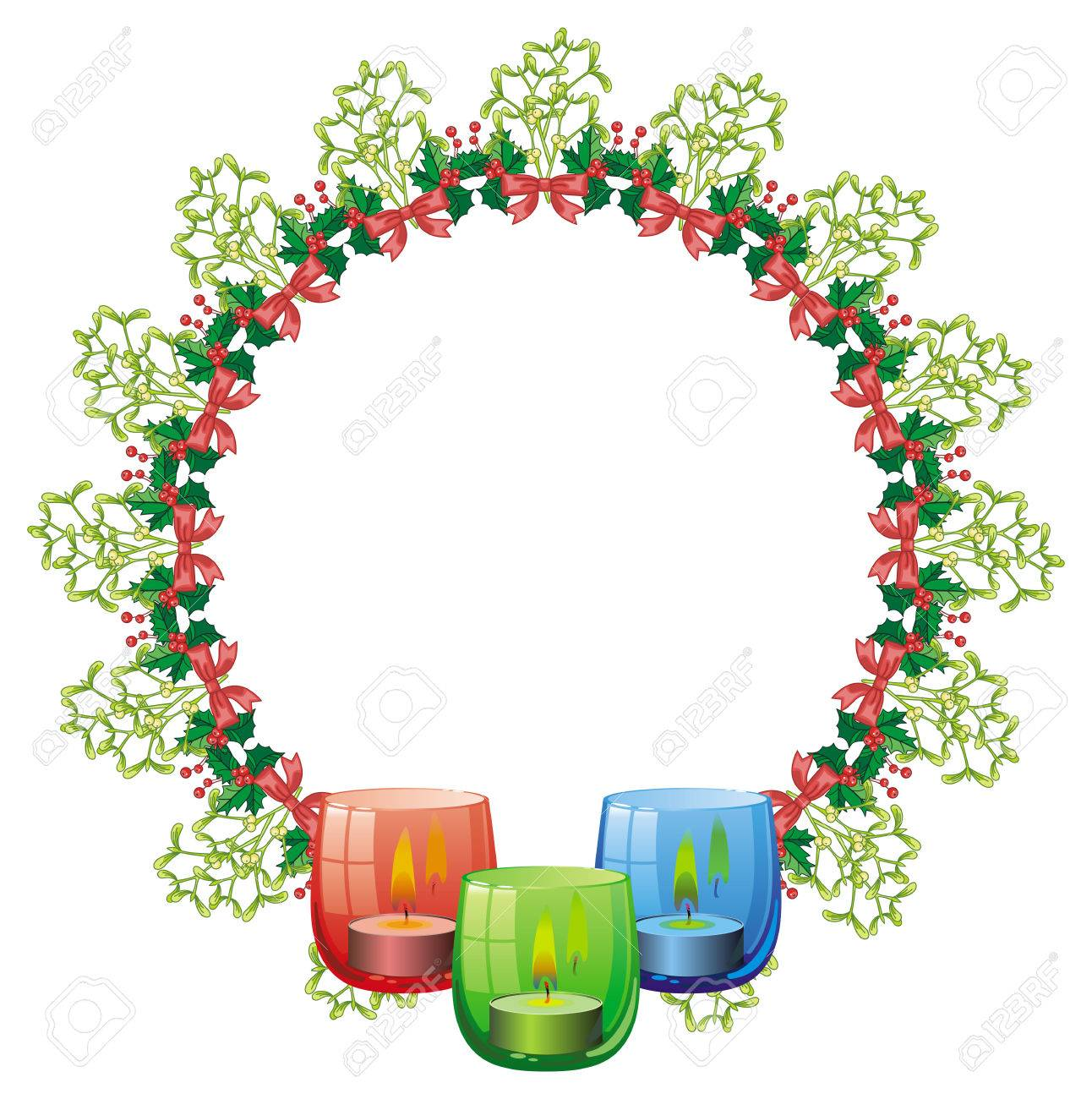 round frame in shape of christmas garland and lighted candle rh 123rf com christmas garland clip art borders vintage christmas garland clip art