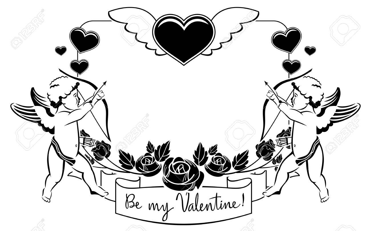 Schwarz Und Weiß Valentine Rahmen Mit Amor Und Herzen. Kopieren Sie ...