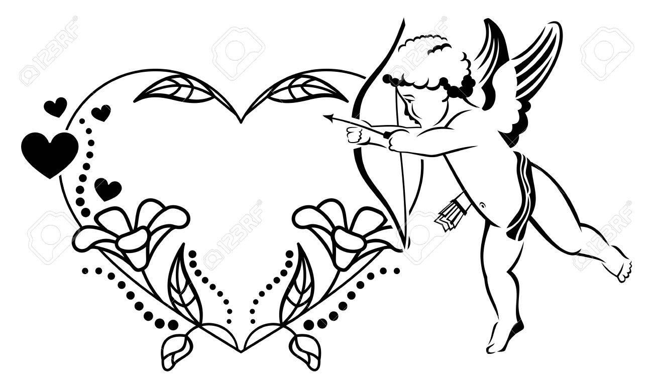 Schwarz-Weiß-herzförmigen Valentine Rahmen Mit Amor. Kopieren Sie ...