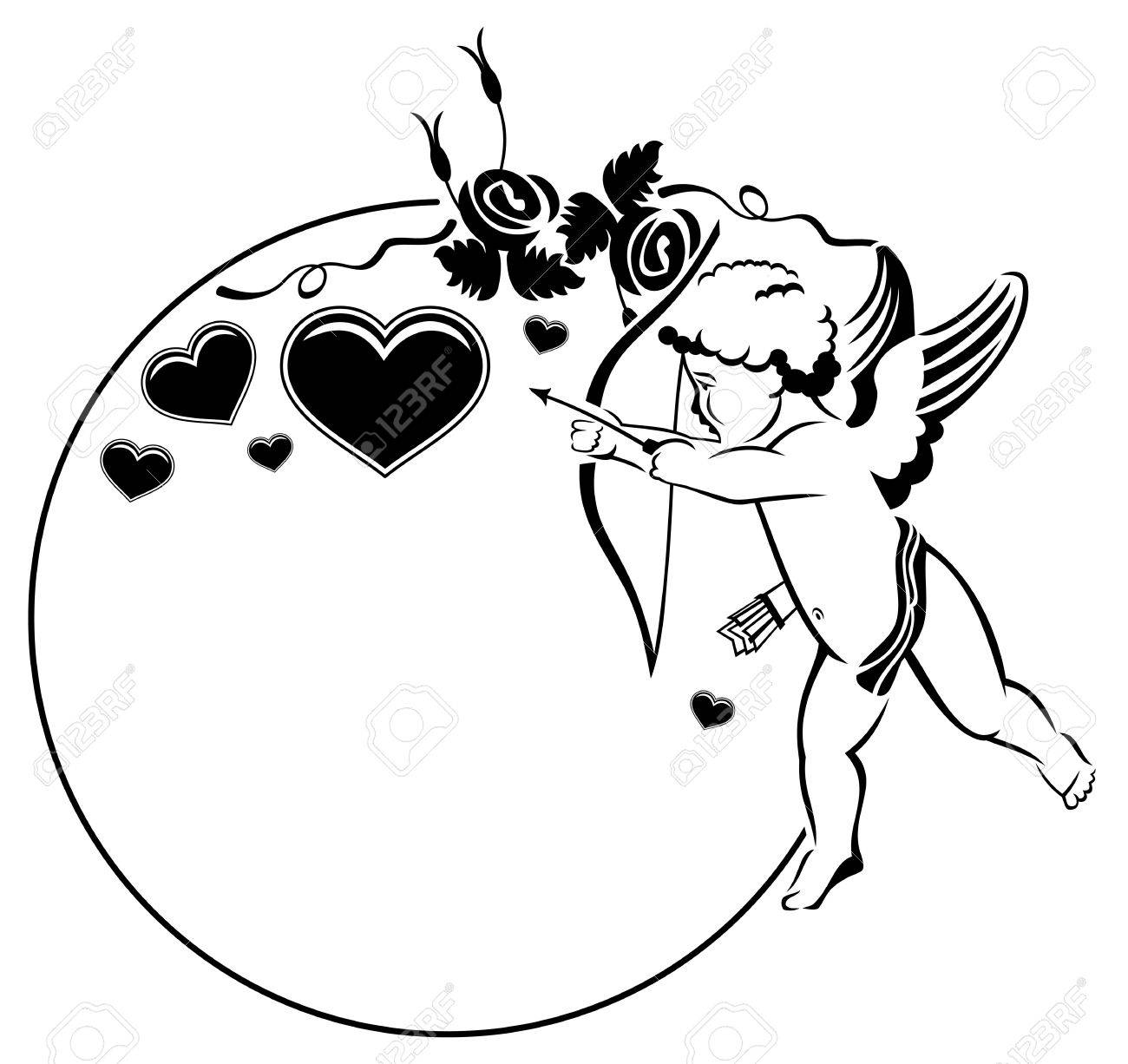 Valentine cupid clipart black and white