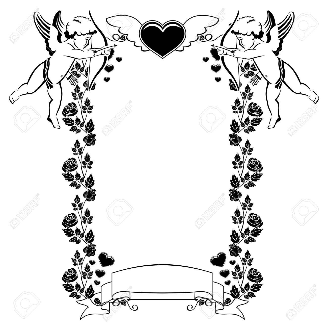 Marco Blanco Y Negro De San Valentín Con Corazones Y Cupido Espacio