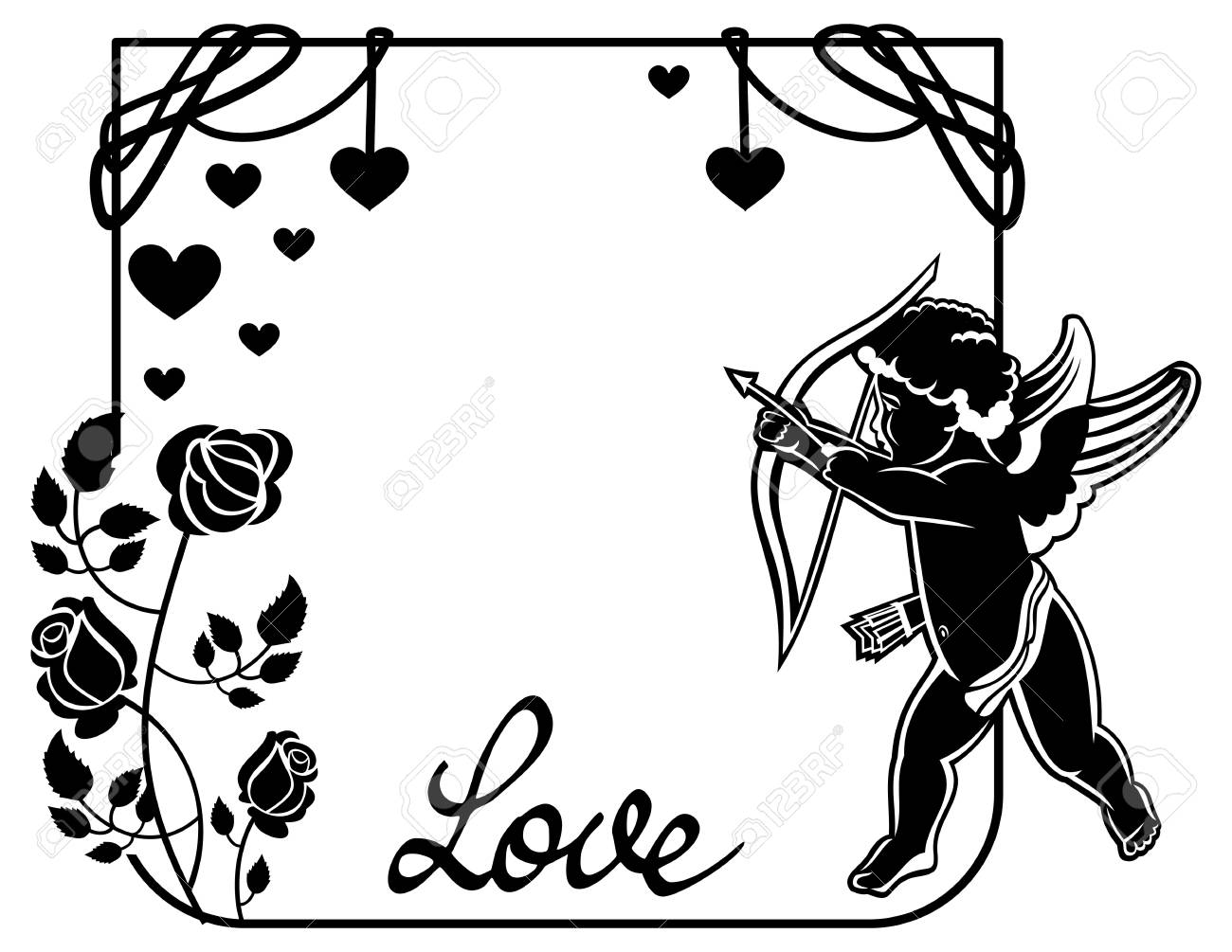 Line Art Of Heart : Cupid with bow hunting for hearts. black and white frame