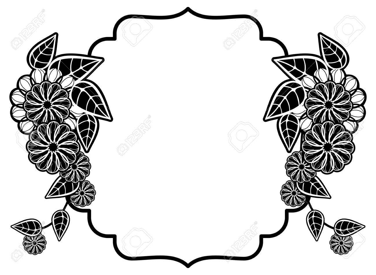 Black and white frame with decorative flowers copy space vector clip art stock