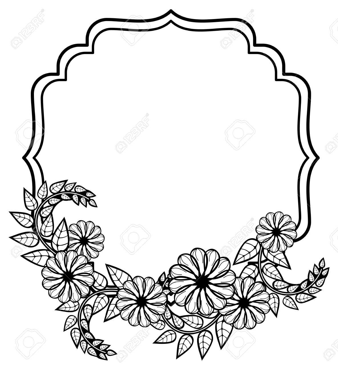 Schwarz Weiß Rahmen Mit Dekorativen Blumen Kopieren Sie Raum