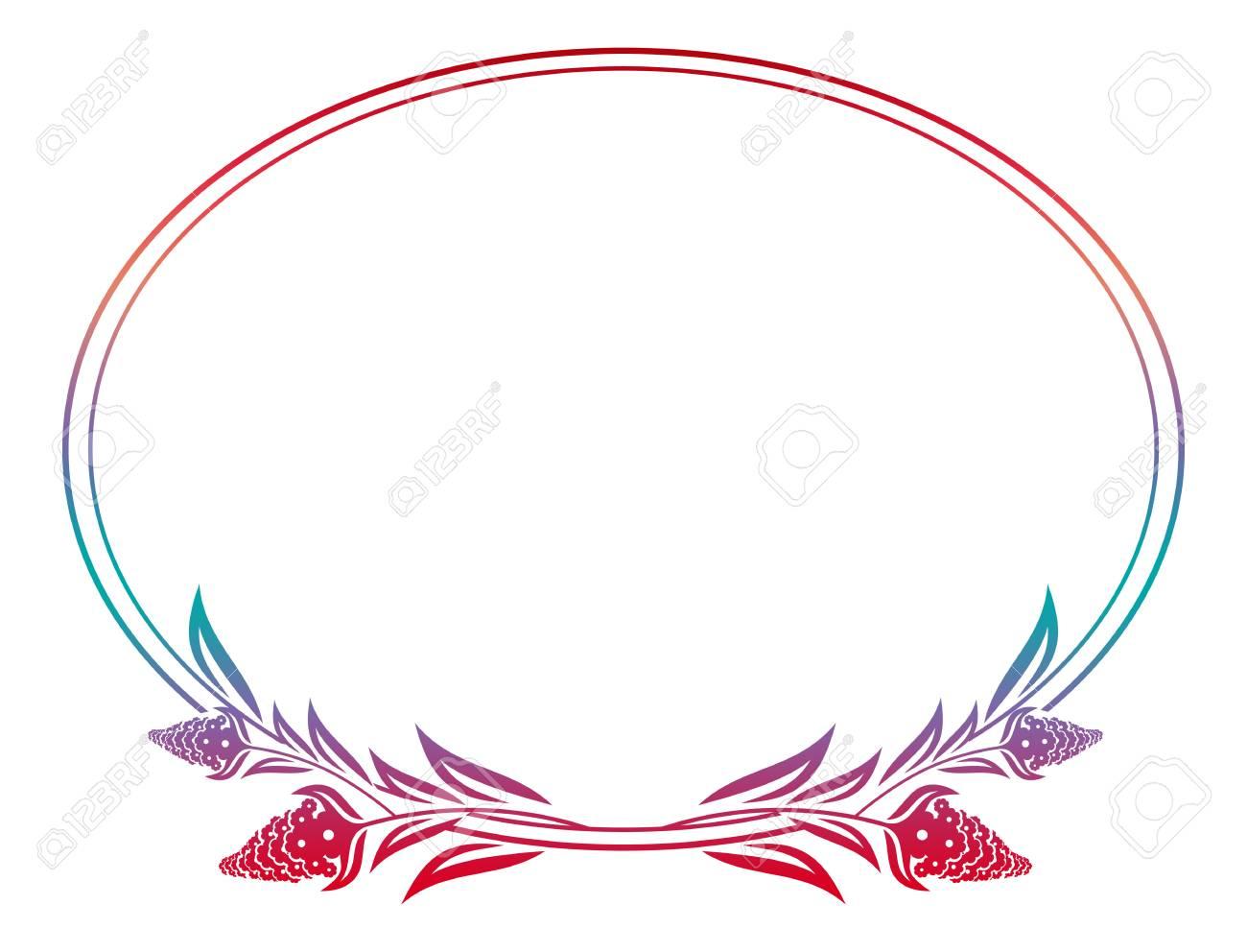 Schöne Blumen Ovalen Rahmen Mit Verlaufsfüllung. Farbe Silhouette ...