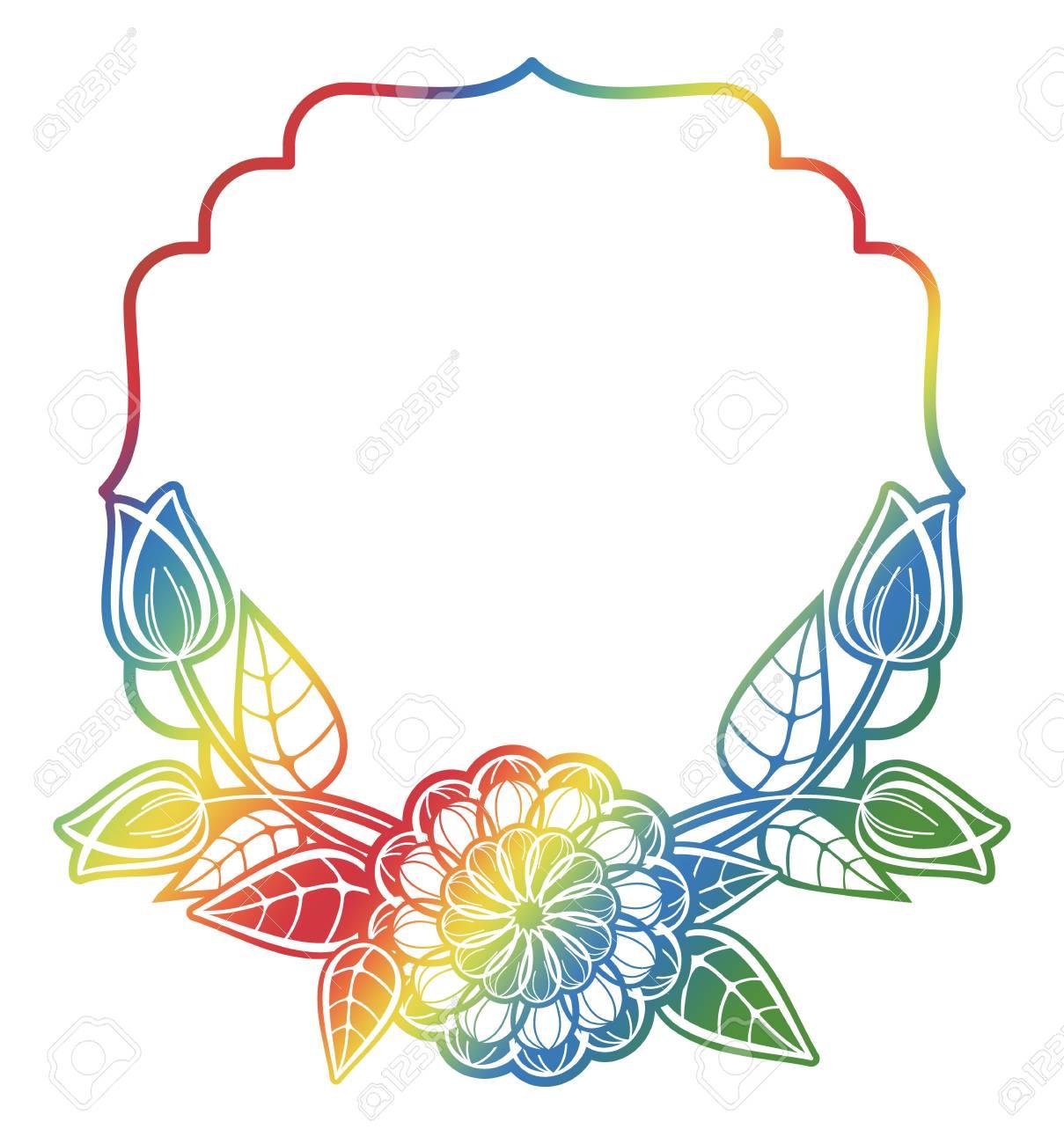 Schöne Blumen Etikett Mit Verlaufsfüllung. Farbe Silhouette Rahmen ...