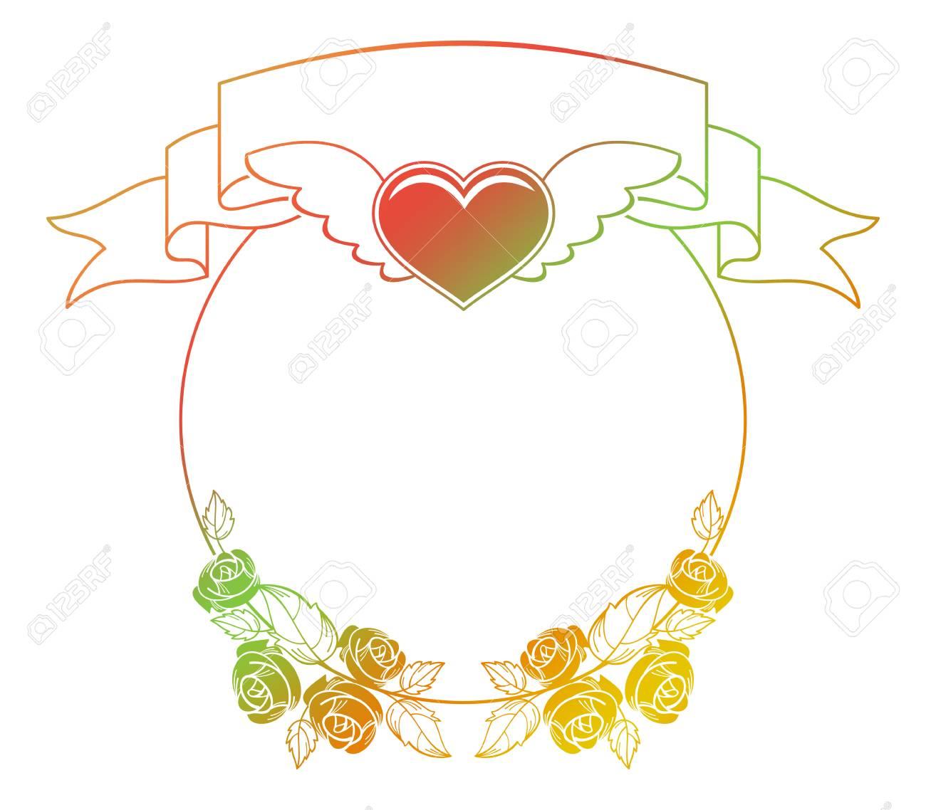 Valentine Label Mit Rosen Und Herzen Fliegen. Farbverlauf Rahmen Für ...