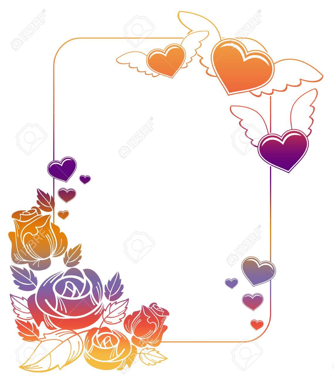 Valentine Label Mit Rosen Und Fliegende Herzen. Farbverlauf Rahmen ...