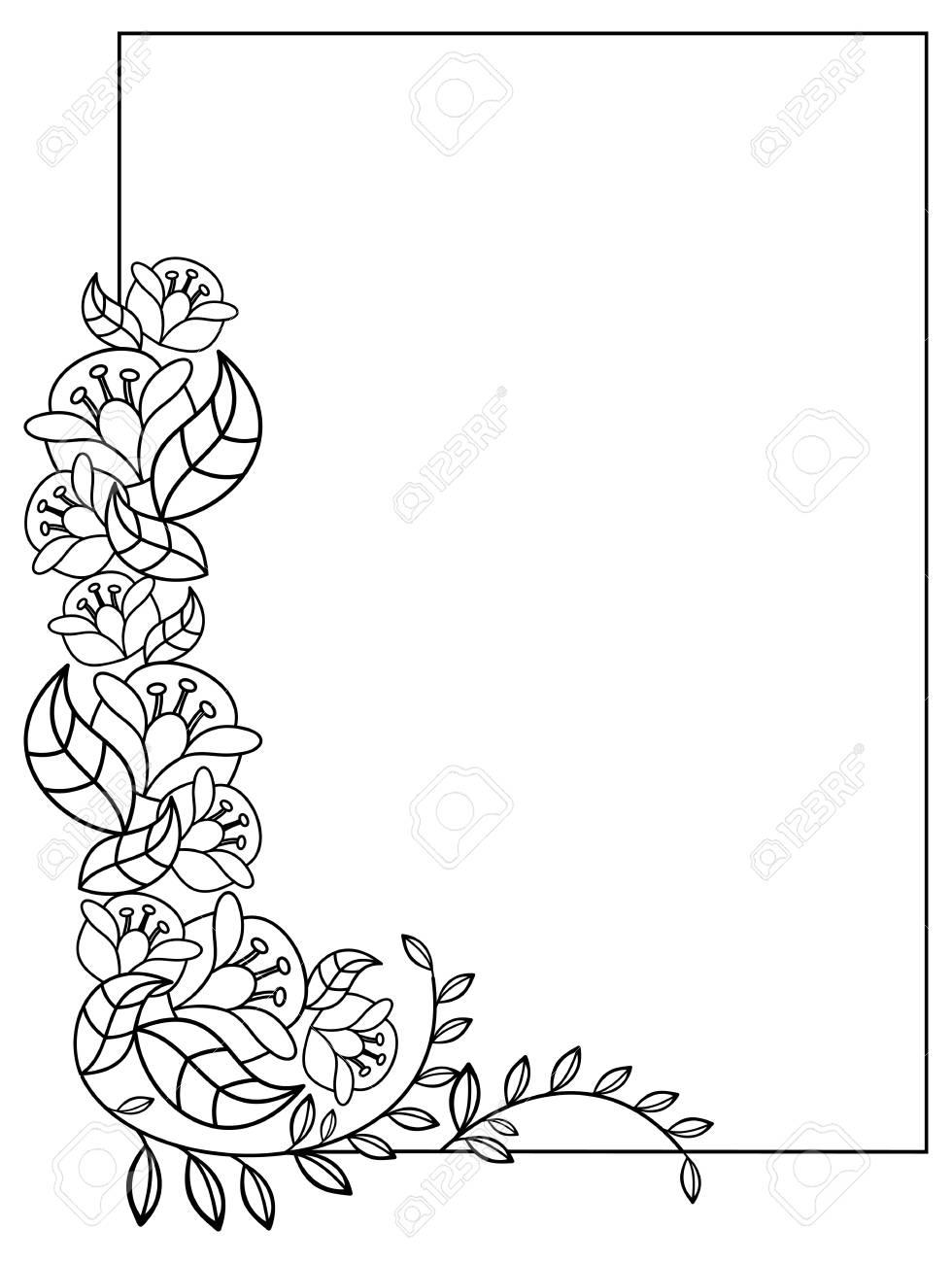 Elegante Marco Vertical Con Contornos De Flores. Copia Espacio ...