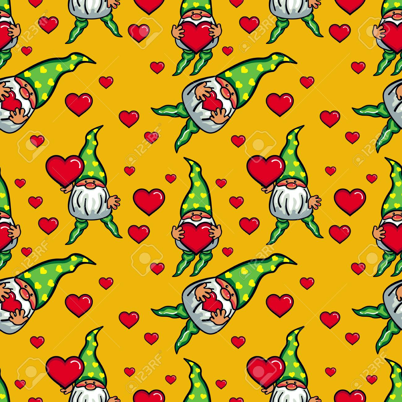 Seamless pattern with cute gnome holding heart funny background seamless pattern with cute gnome holding heart funny background for holiday decorations greetings bookmarktalkfo Image collections