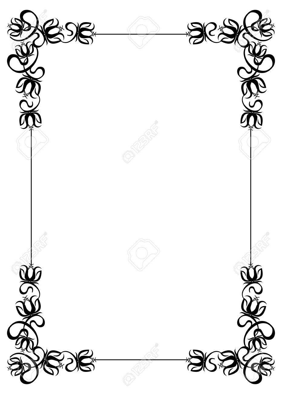 Schwarz Weiß Rahmen Mit Blumen Silhouetten Vector Clip Art