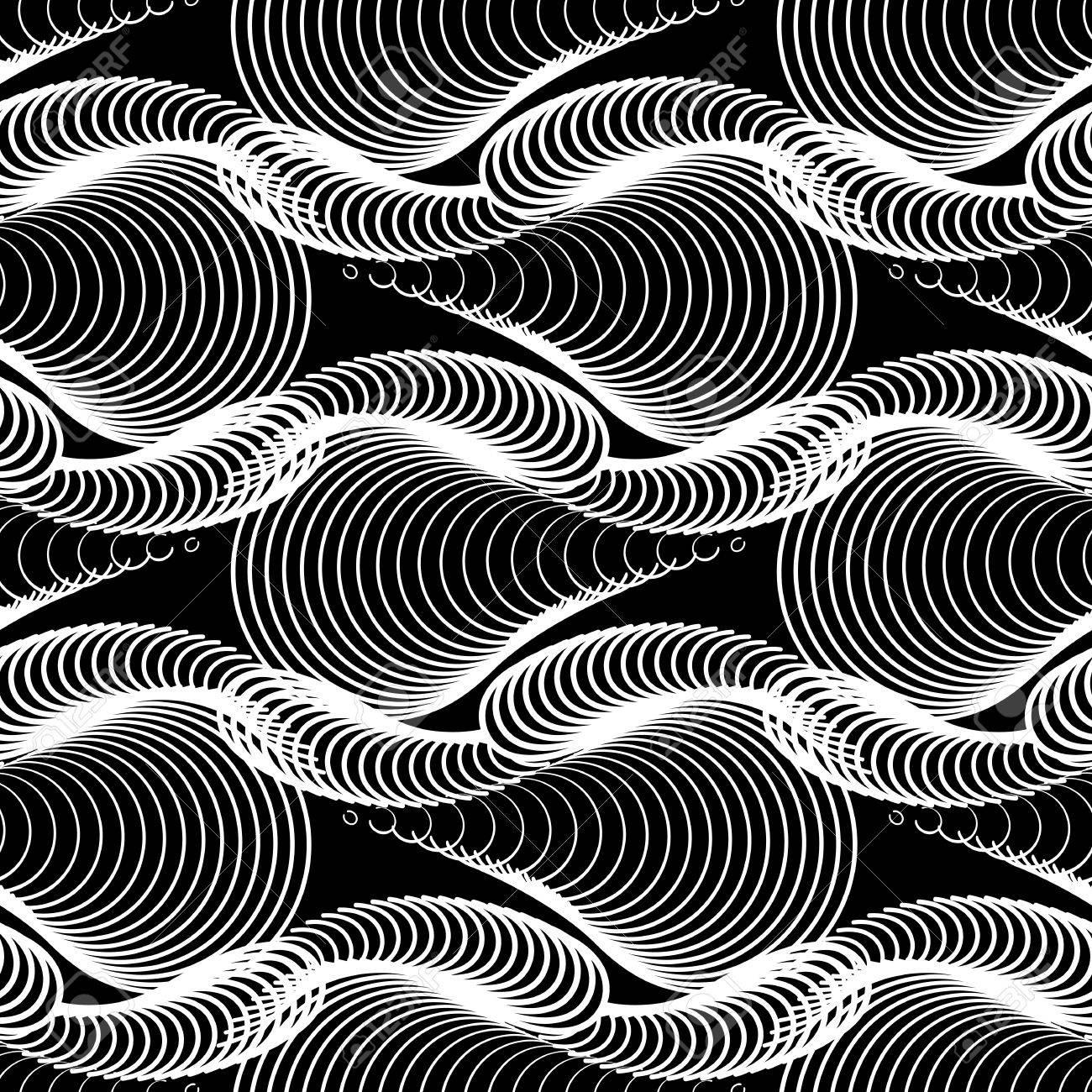 Motif Noir Et Blanc Abstrait Fond De Guilloche Sans Couture Pour Diplome Et Certificat Clip Art Vecteur