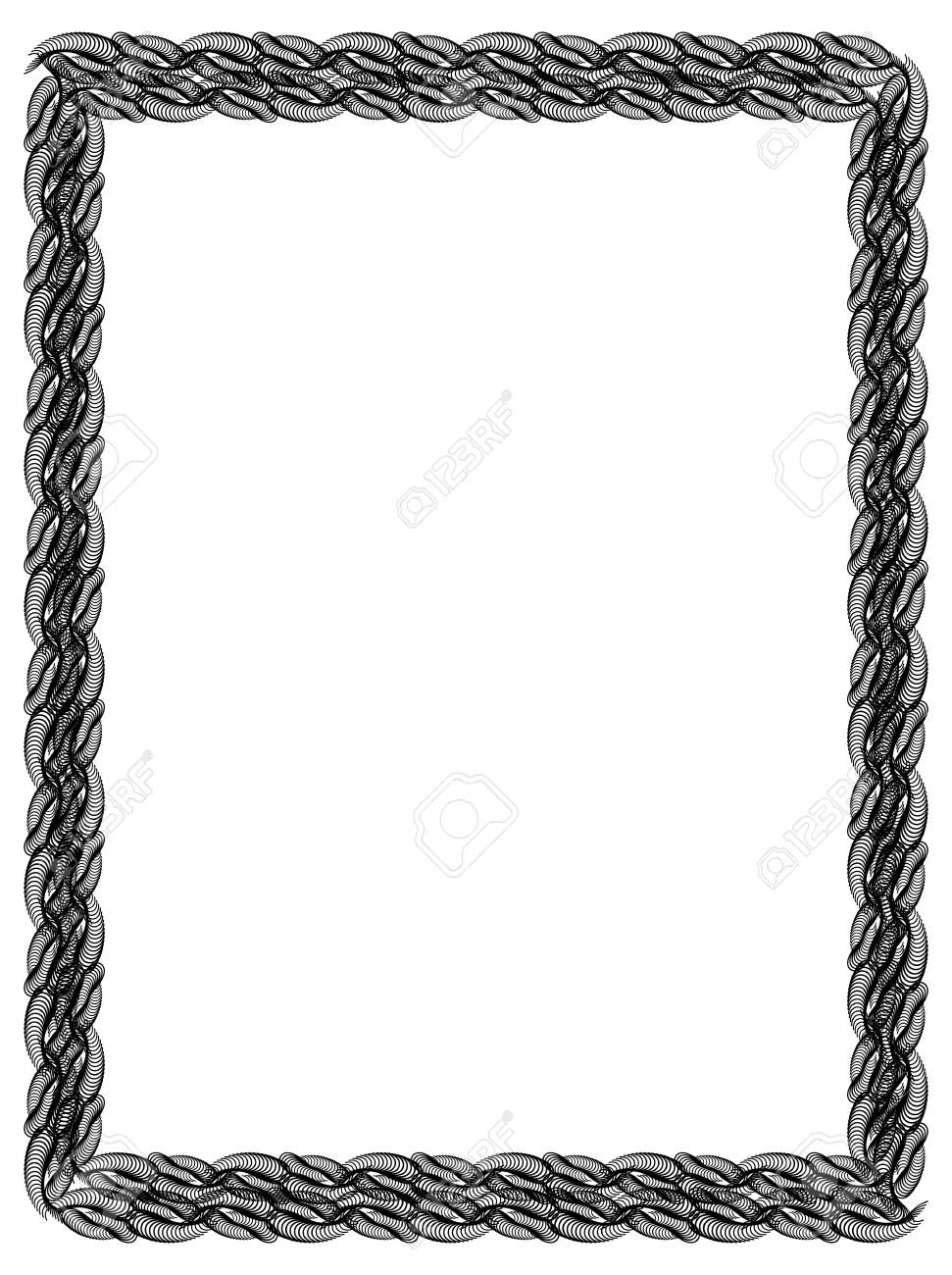Black And White Abstract Vertical Frame. Guilloche Border For ...