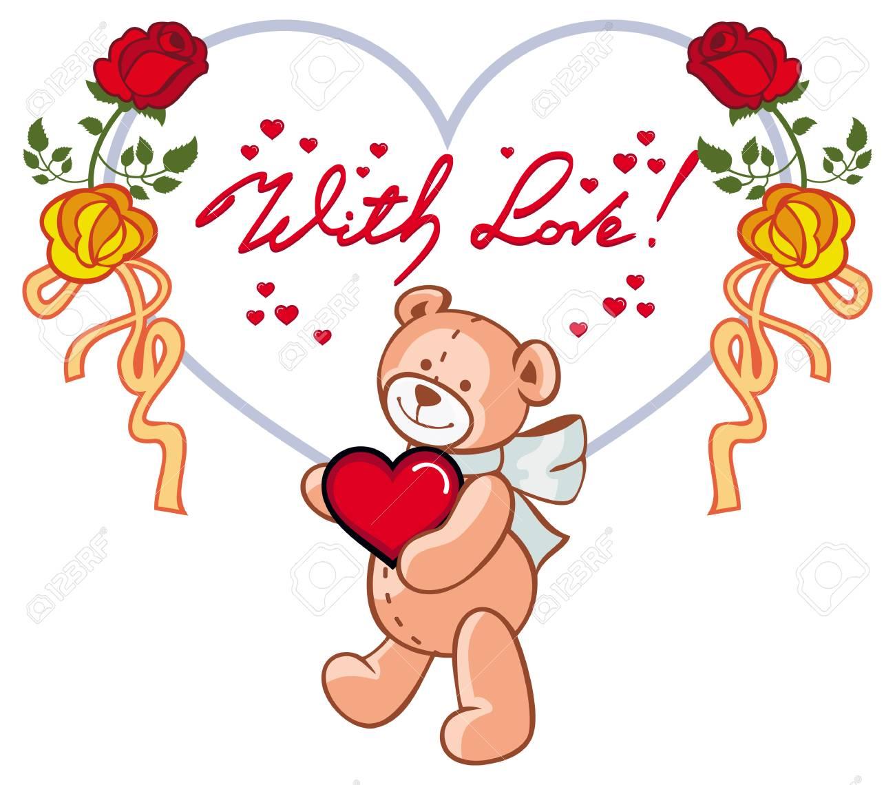 Moldura Em Forma De Coração Com Rosas Vermelhas Urso De Peluche