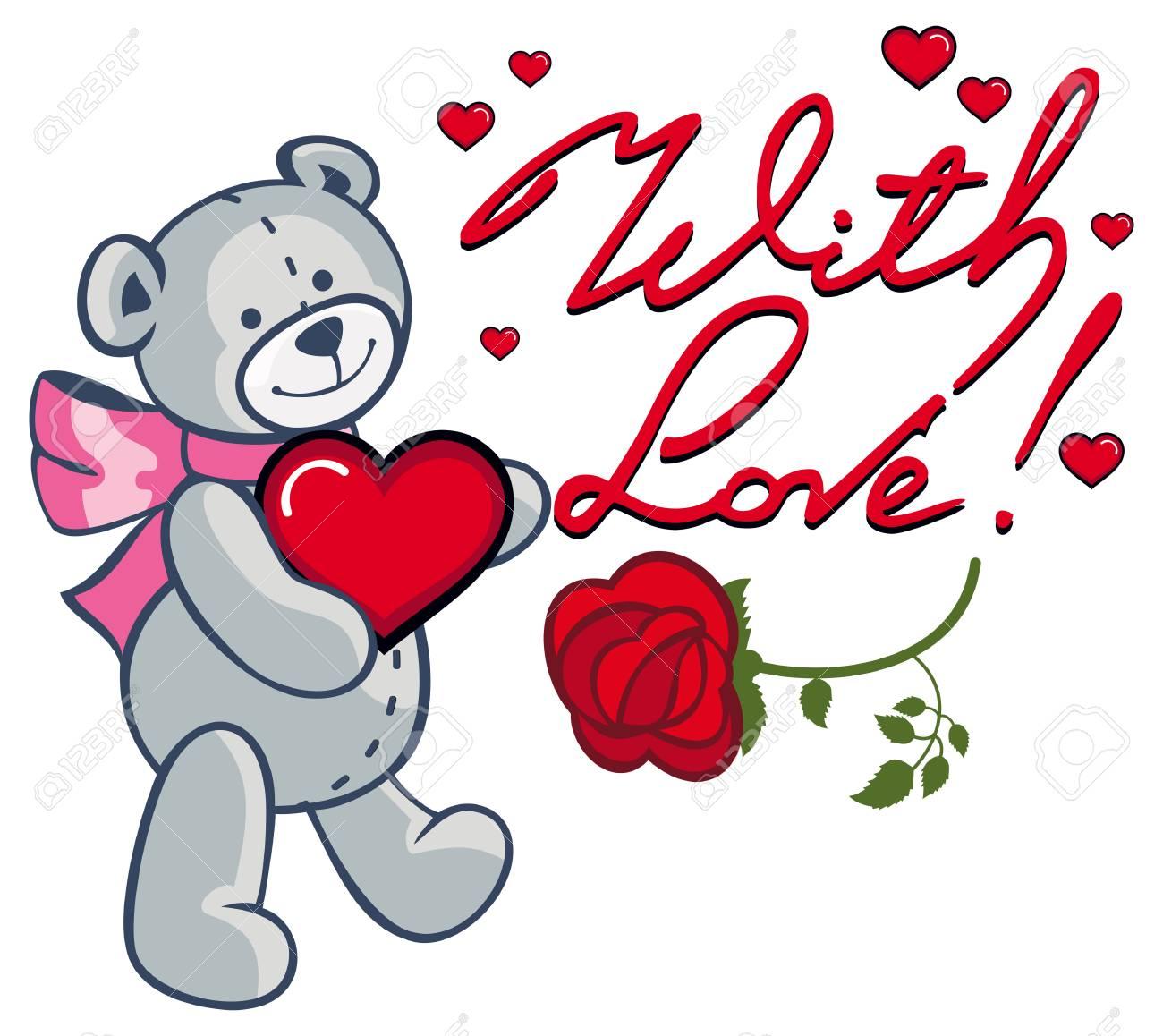 artistic written text with love and cute teddy bear holding rh 123rf com
