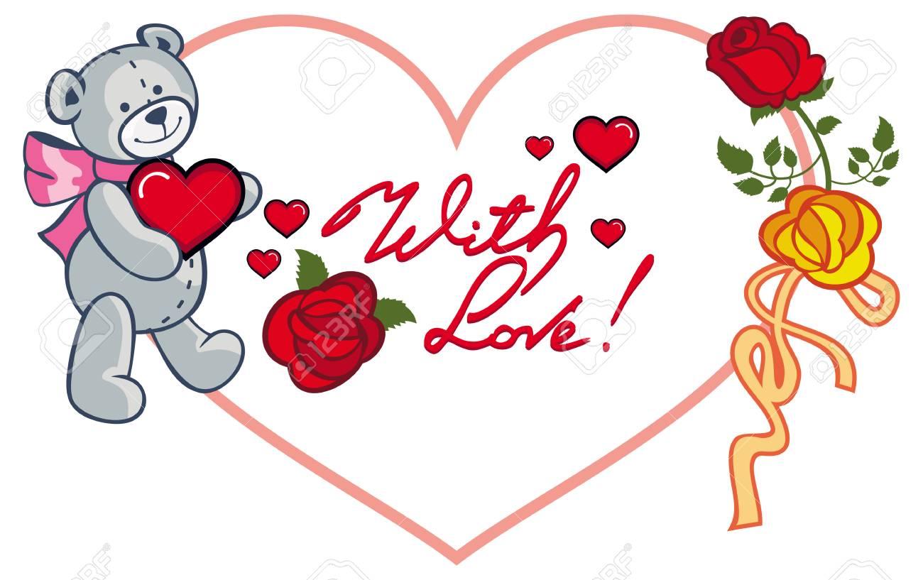 Moldura Em Forma De Coração Com Rosas Vermelhas Urso De Peluche Segurando Coração E Frase Escrita Com Amor Fundo Do Dia Dos Namorados Clip Art