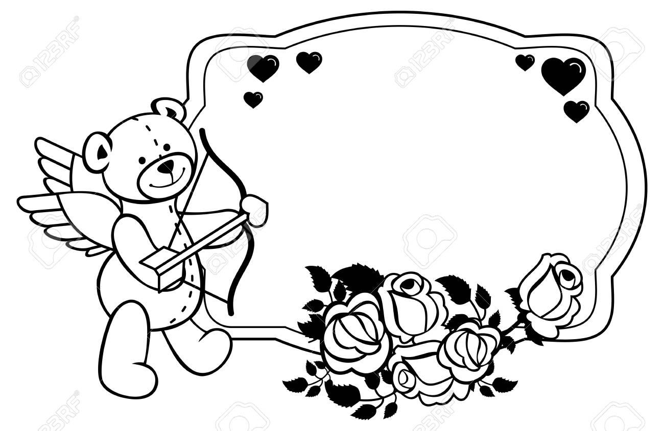 Oval-Label Mit Umrisse Rosen Und Teddybären Mit Bogen Und Flügeln ...