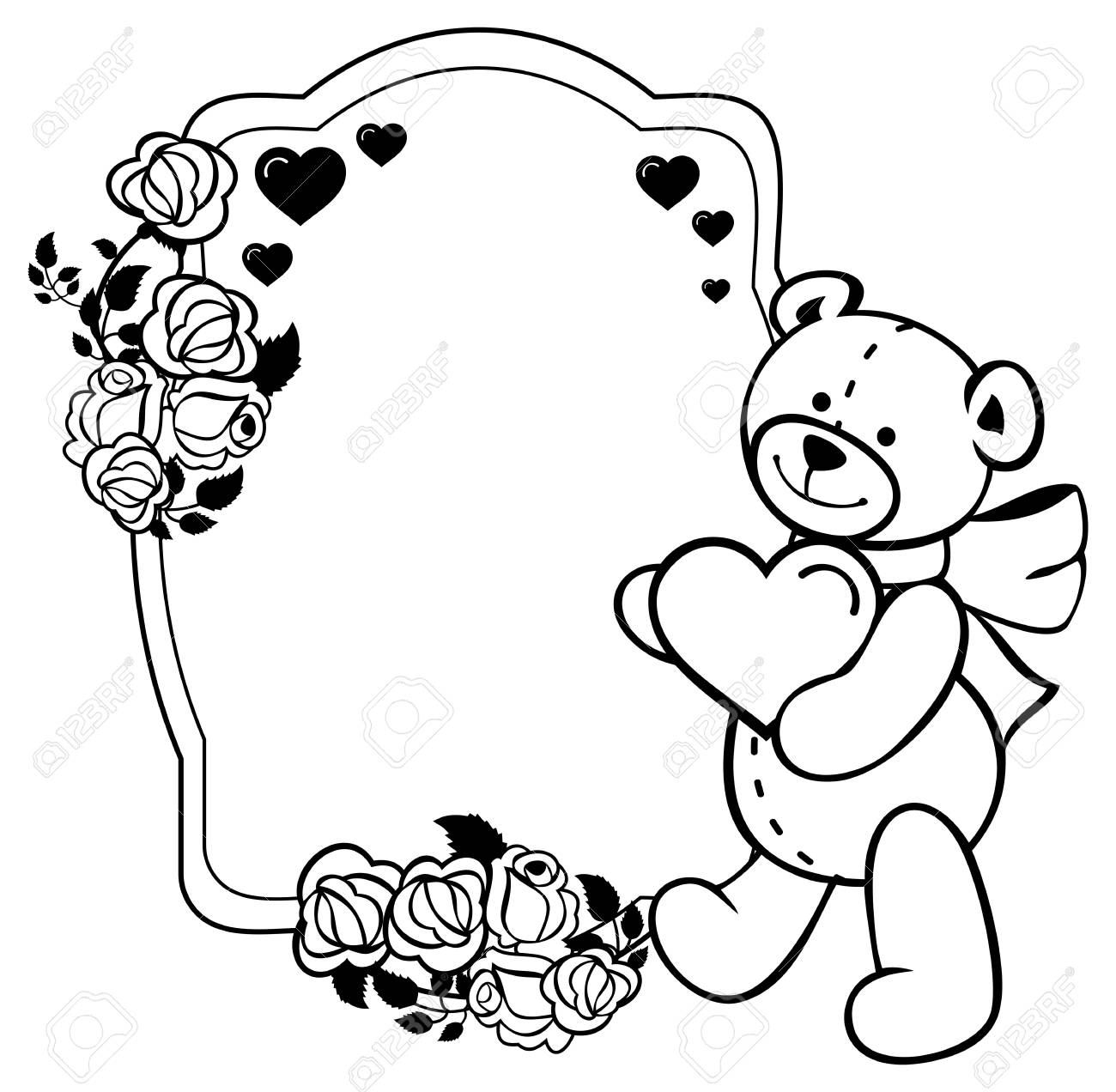 oval label with outline roses and cute teddy bear holding heart rh 123rf com