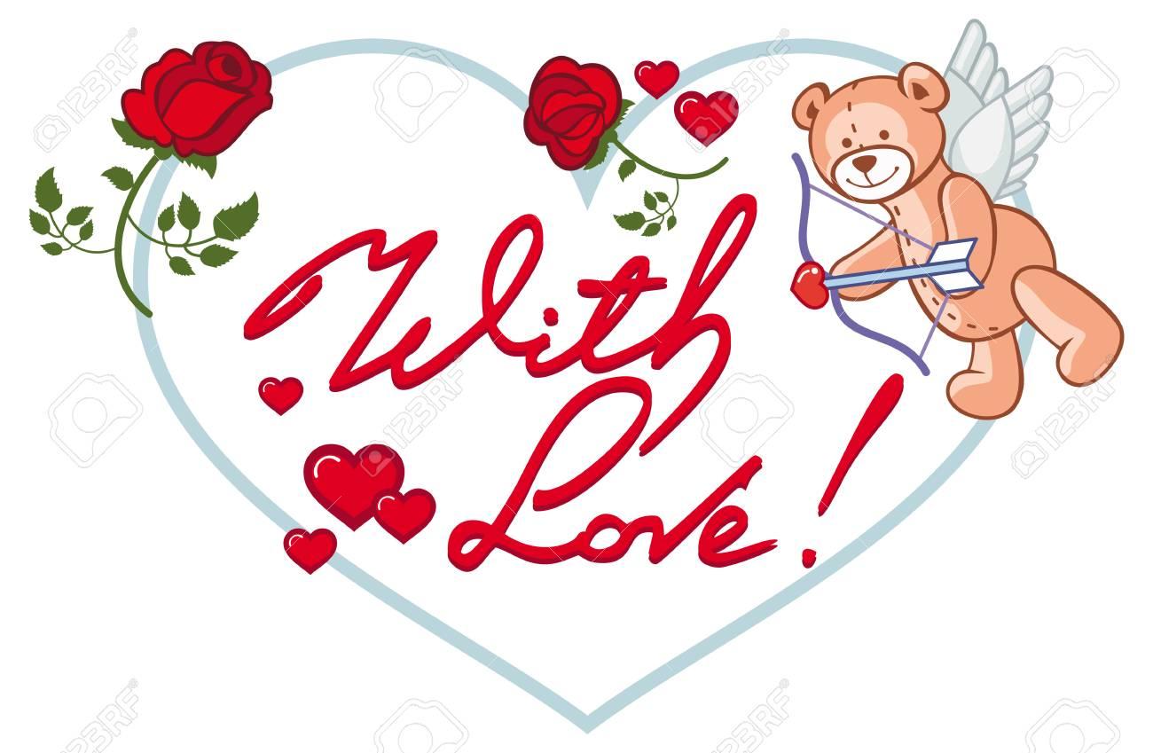 Marco En Forma De Corazon Con Rosas Rojas Oso De Peluche Se Parece