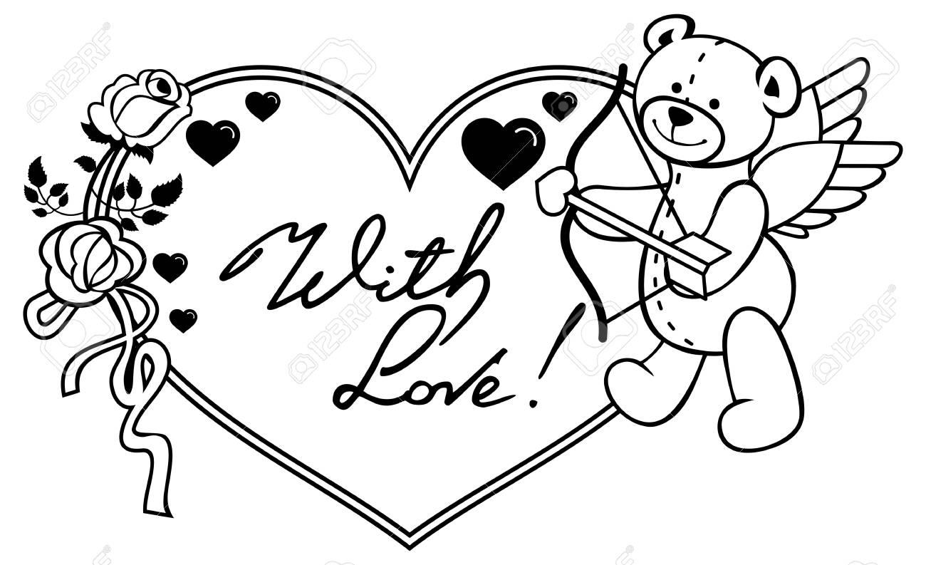 Moldura Em Forma De Coração Com Rosas De Contorno Ursinho De Pelúcia Parece Um Cupido E Frase Escrita Com Amor Plano De Fundo Dia Dos Namorados