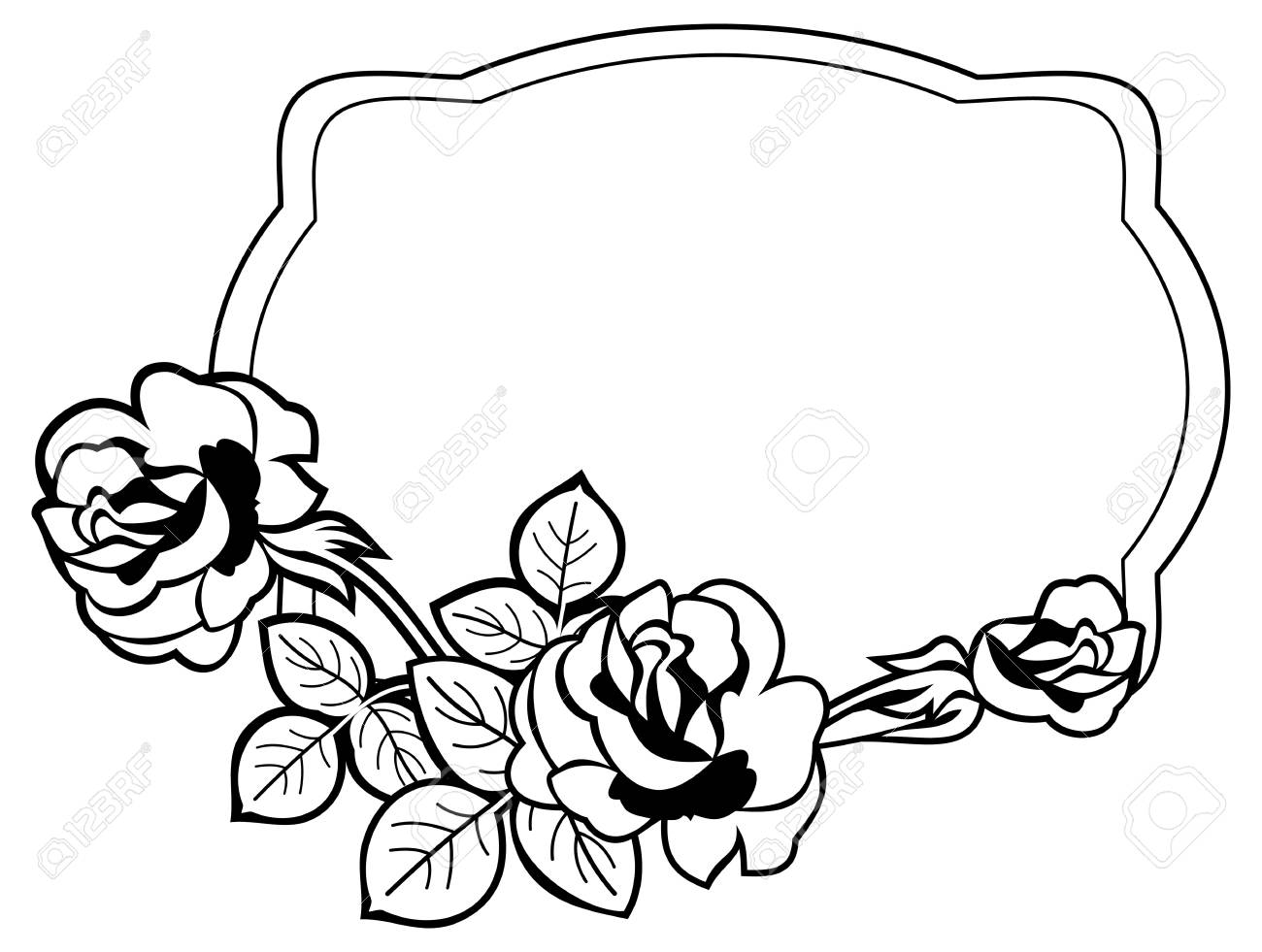 Black And White Frame With Stylized Roses Silhouettes. Vector ...