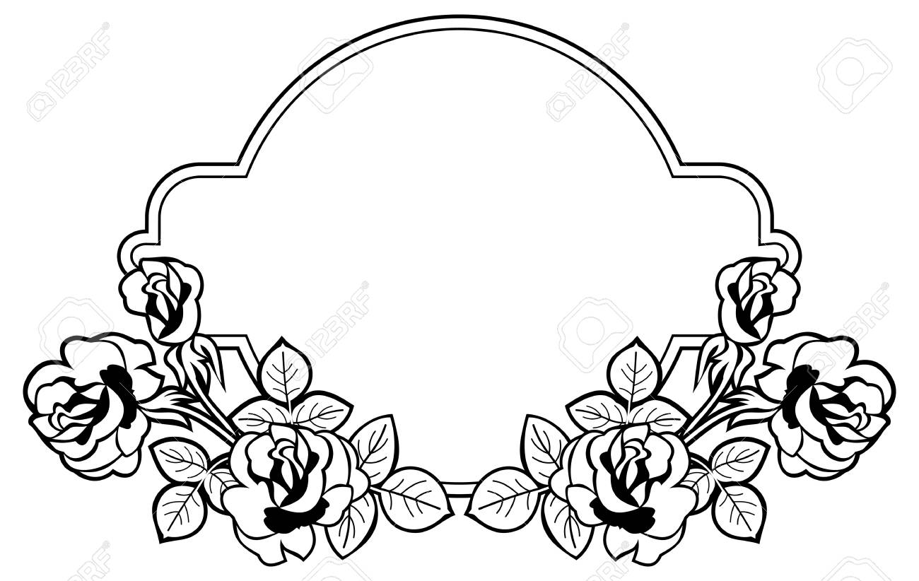 black and white round frame with stylized roses silhouettes rh 123rf com free clip art roses black and white rose flower clipart black and white