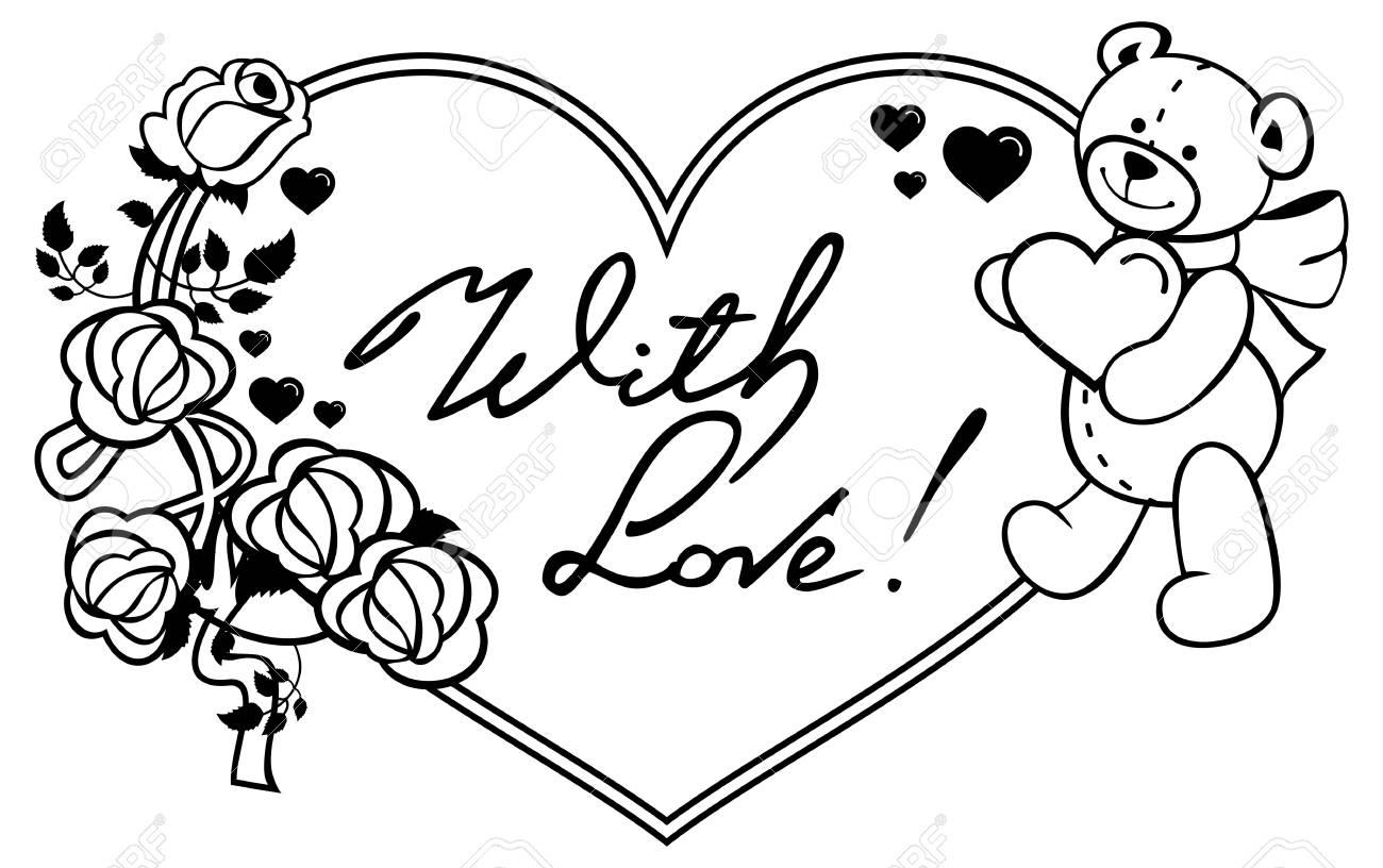 Marco En Forma De Corazón Con Rosas De Contorno Oso De Peluche Con Frase Escrita Corazón Con Amor Fondo De San Valentín Imágenes Prediseñadas De