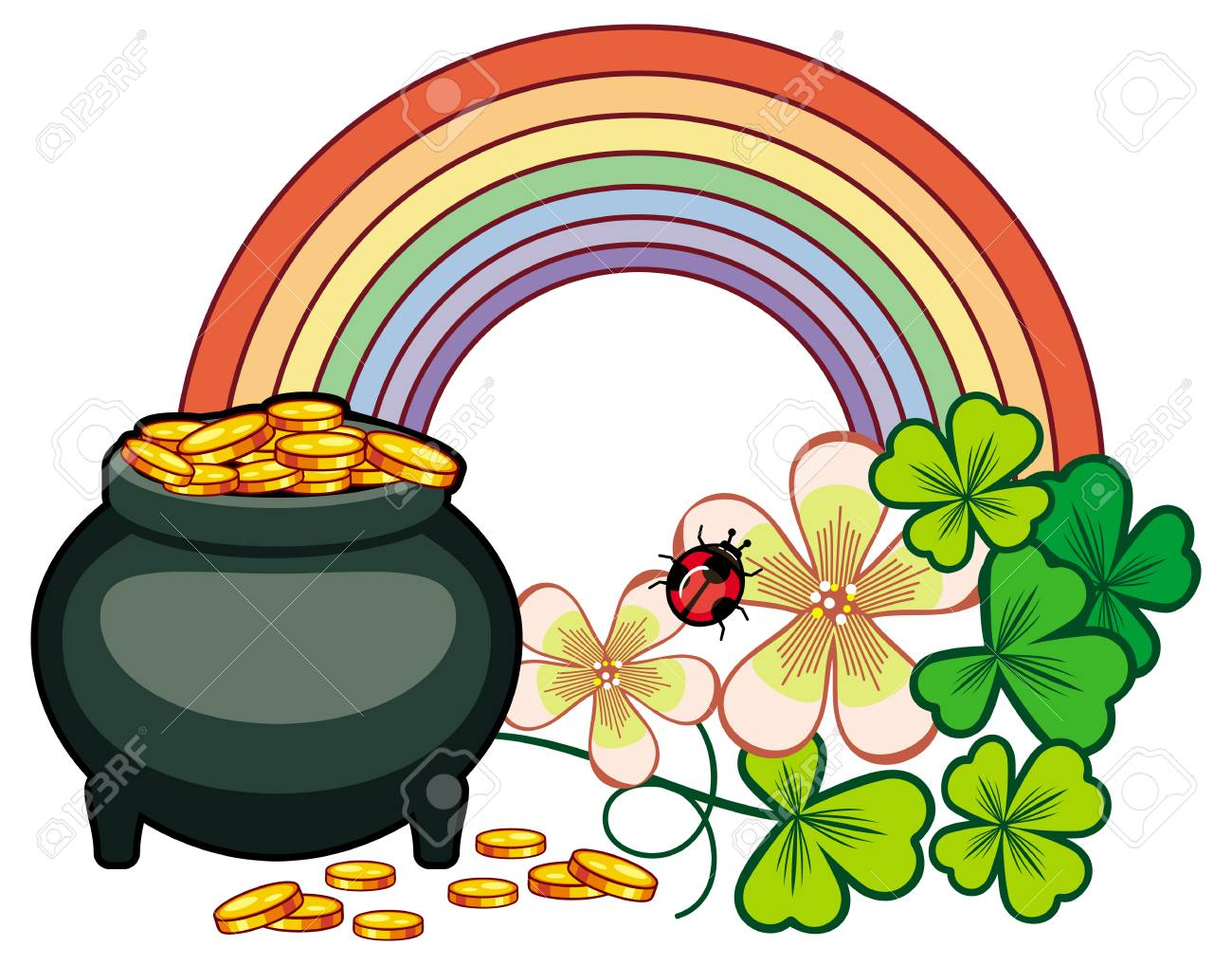 holiday label with shamrock rainbow and leprechaun pot of gold rh 123rf com  rainbow and pot of gold clipart black and white