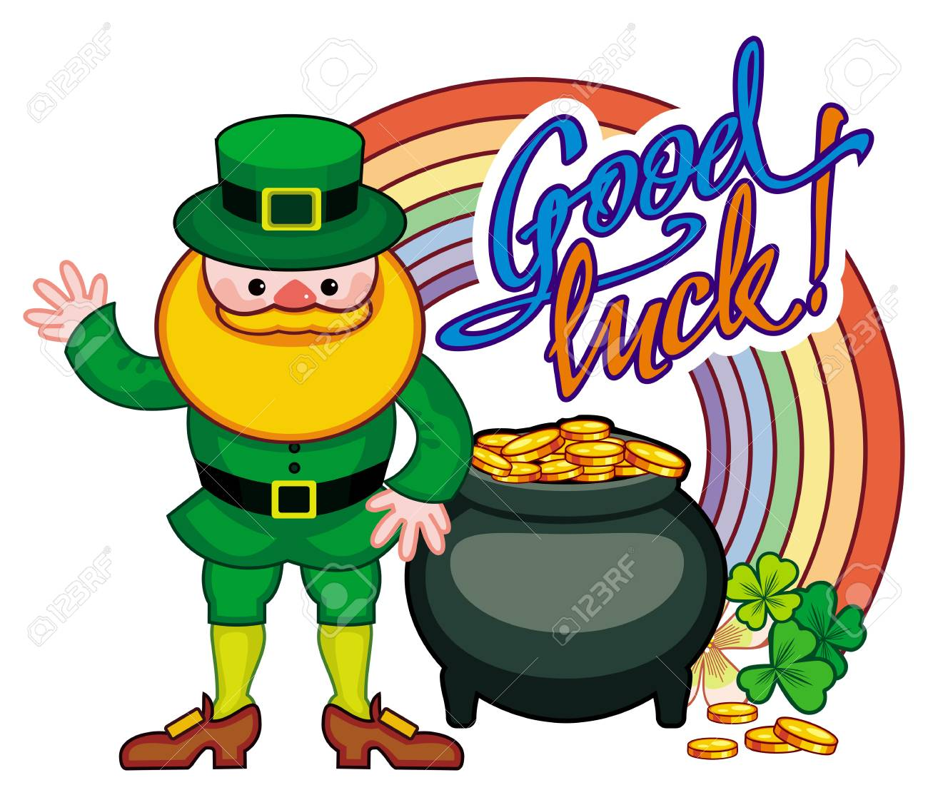 holiday label with shamrock rainbow leprechaun and a pot of