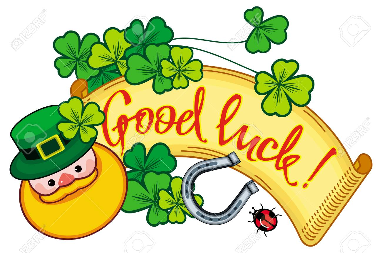 Funny Label With Shamrock Leprechaun And Text Good Luck