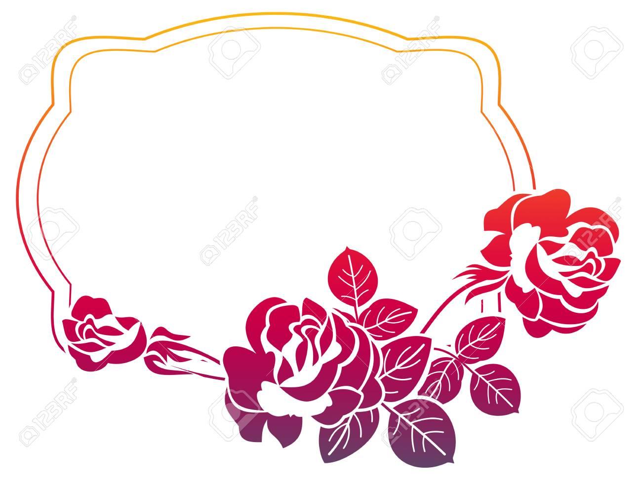 Gradient-Rahmen Mit Rosen. Farbe Rahmen Mit Rosen Für Anzeigen ...