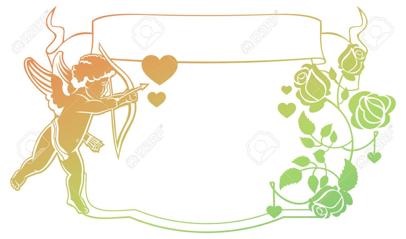 Cupid With Bow Hunting For Hearts. Color Gradient Frame With.. Stock ...