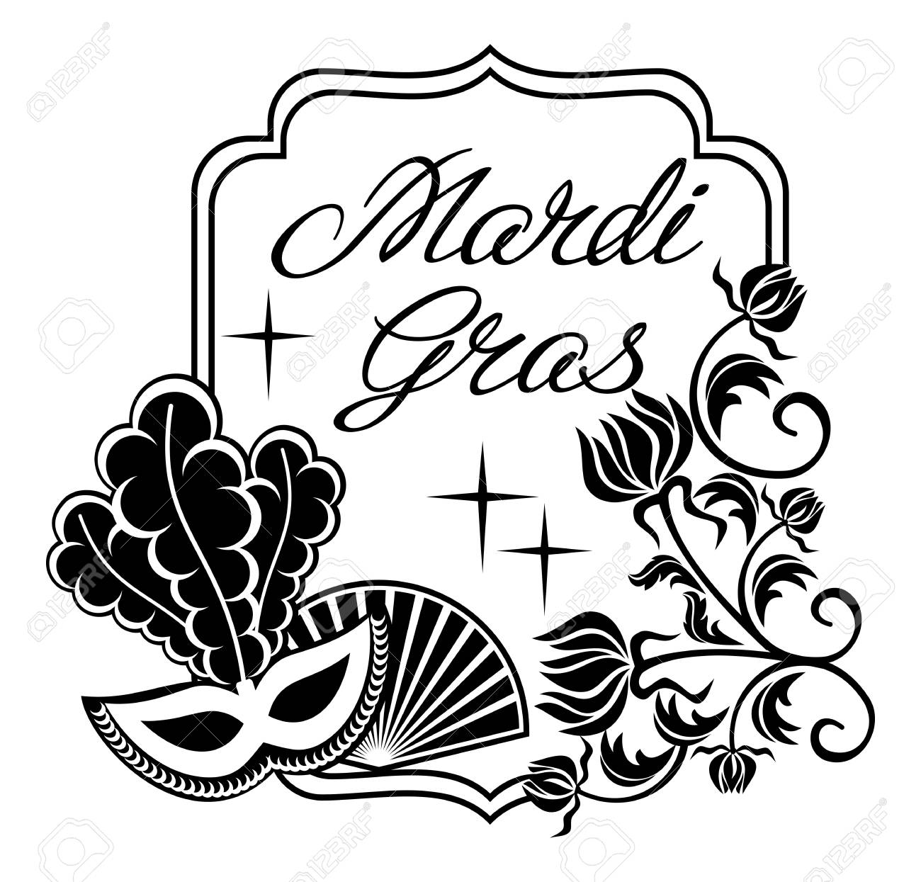 Black Line Clip Art Mardi Gras Wiring Diagrams Onan Diagram 6126628 And White Silhouette Frame With Carnival Masks Artistic Rh 123rf Com Cartoon Crown