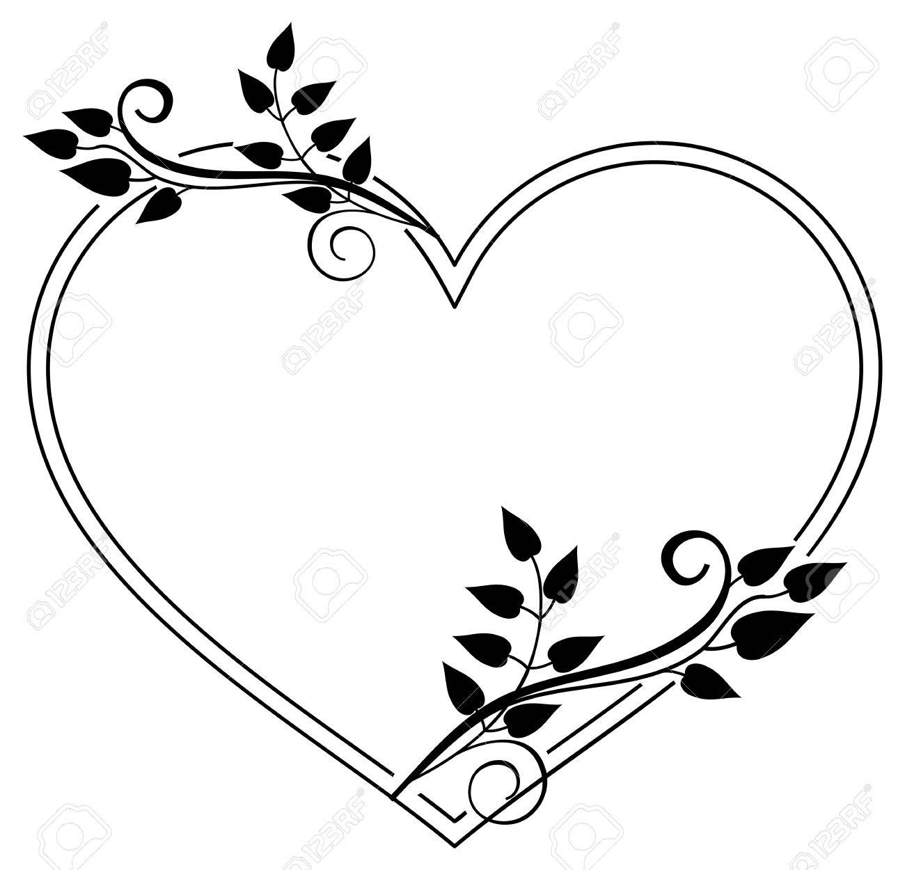 Heart-shaped Black And White Frame With Floral Silhouettes. Copy ...