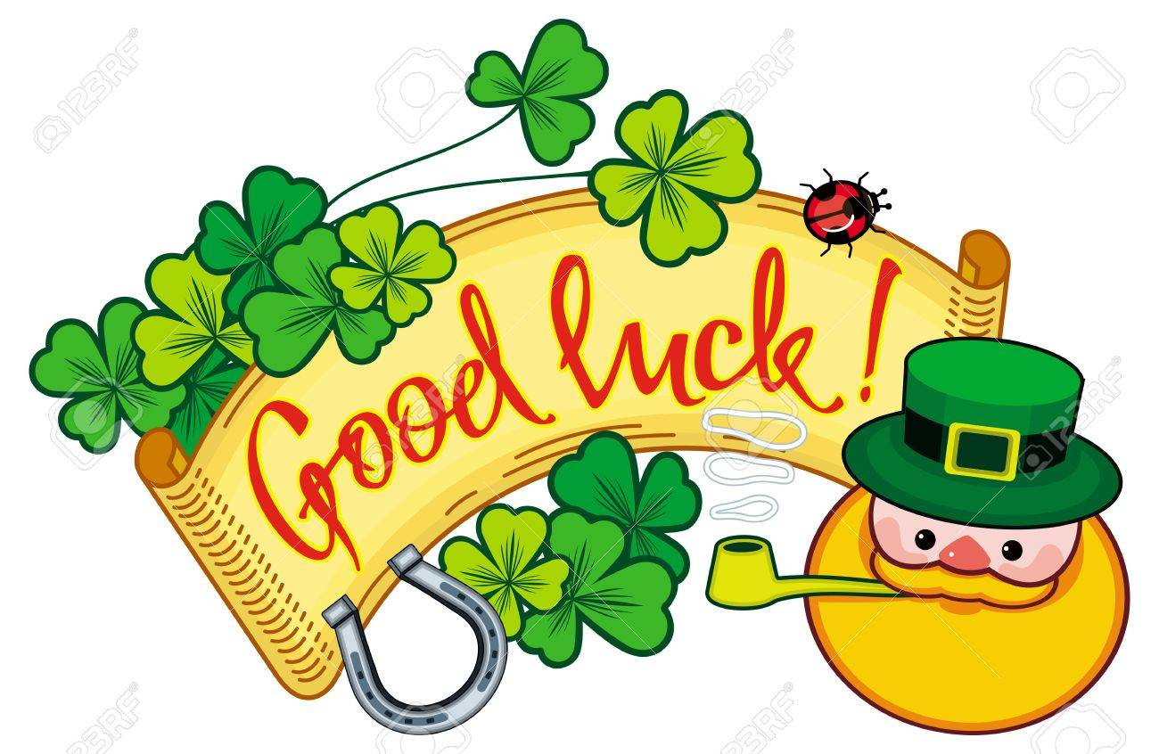 funny label with shamrock leprechaun and text good luck stock rh 123rf com good luck clip art free good luck clipart gif