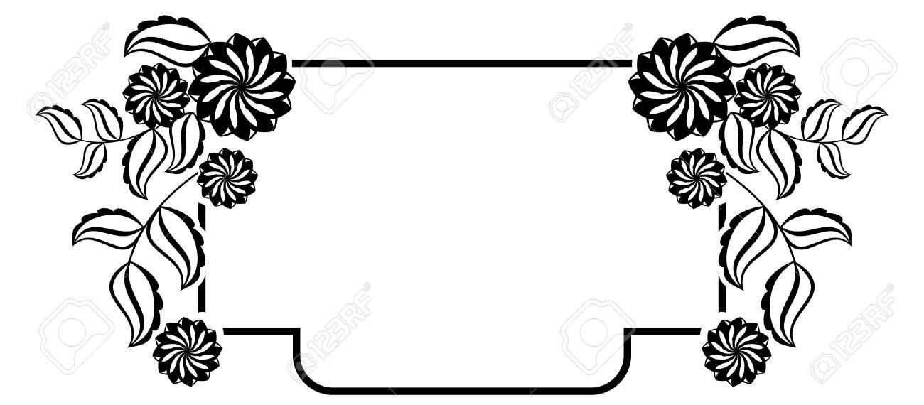 Schwarz-Weiß-Rahmen Mit Blumen Silhouetten. Vector Clip Art ...