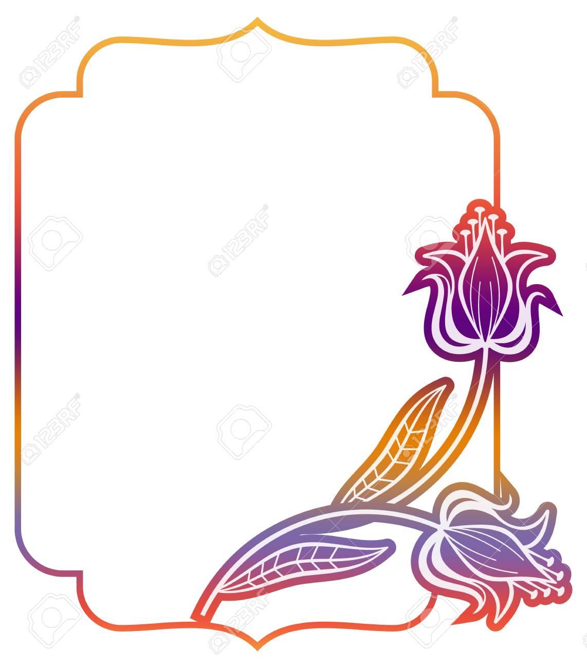 Cornici Colorate Per Foto etichetta sfumata con fiori decorativi. cornice colorata per pubblicità,  matrimonio e altri inviti o biglietti di auguri. clip art raster.