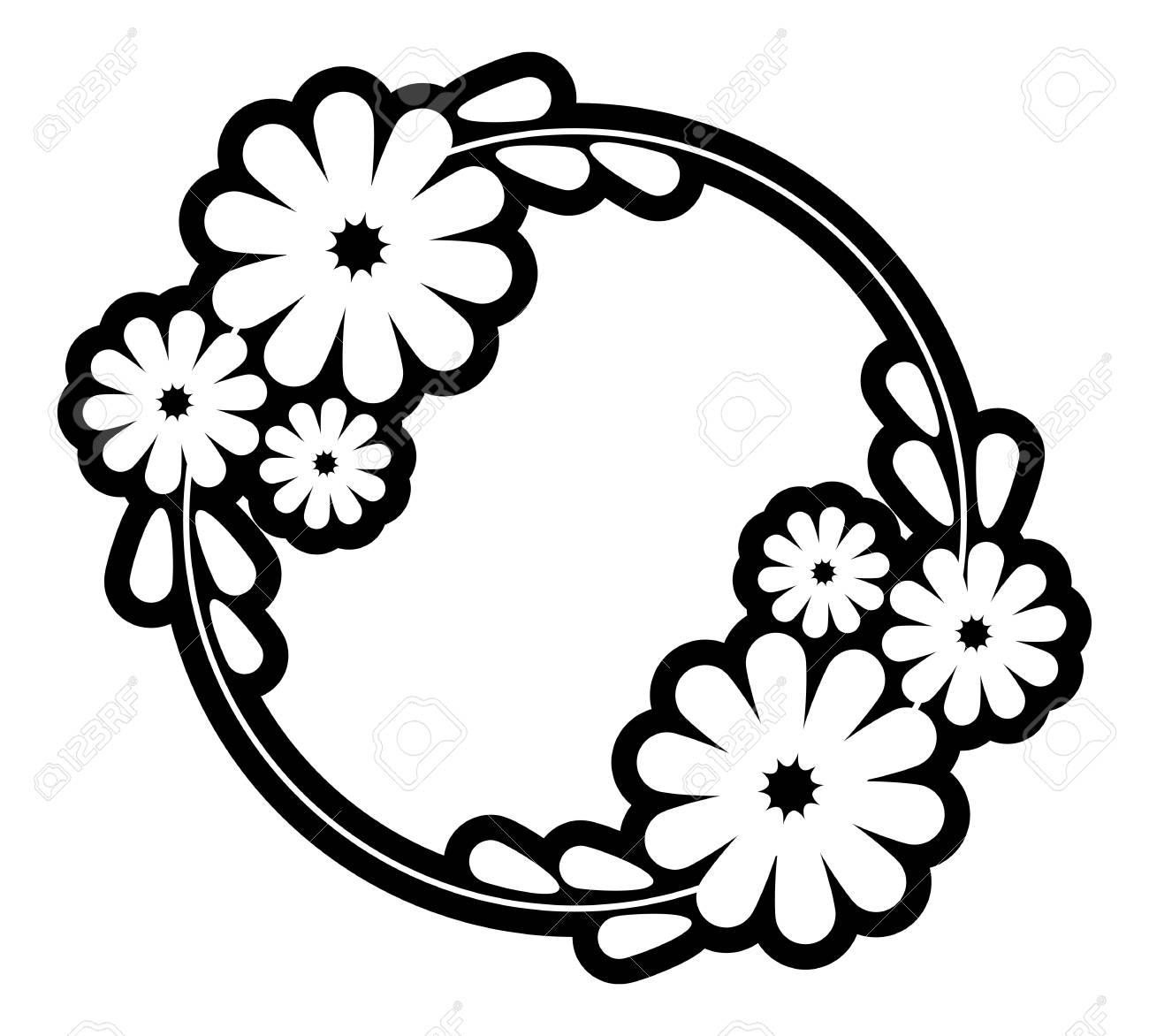 black and white silhouette round frame with decorative flowers rh 123rf com flower vector line art flower vector art png