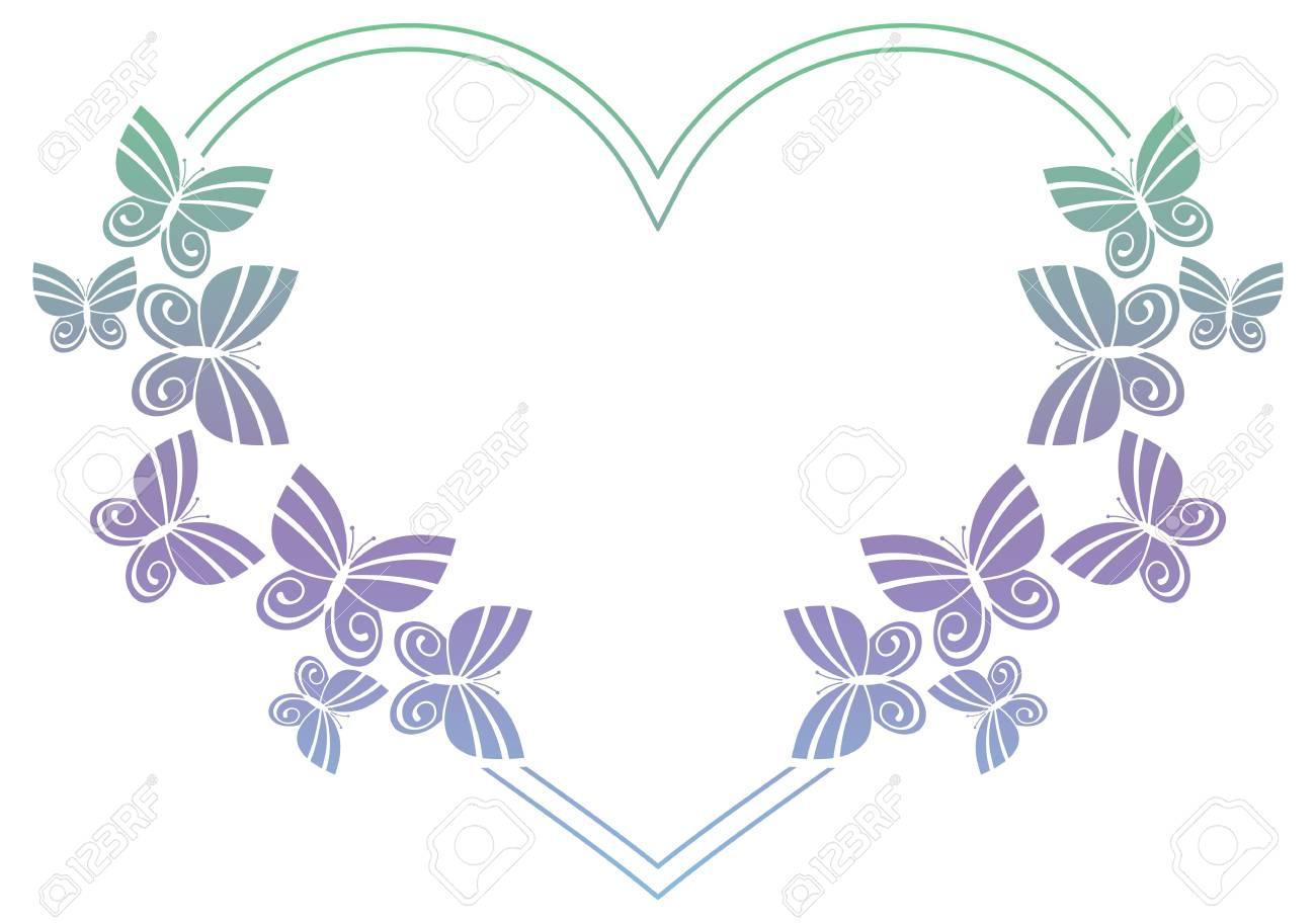 Marco Hermoso Del Gradiente Con Las Mariposas. Copie El Espacio ...